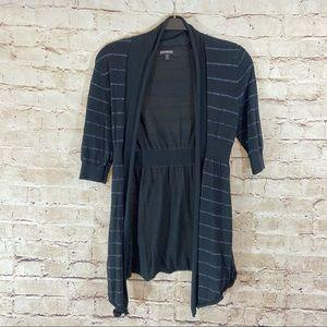 Express black silver striped open knit cozy size S